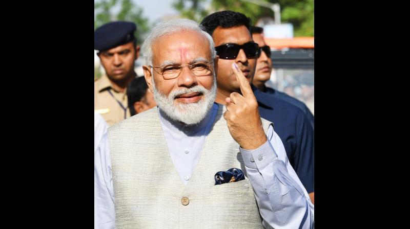PM Modi after casting vote in 2019 Lok Sabha Elections. (Photo: Narendra Modi Twitter)