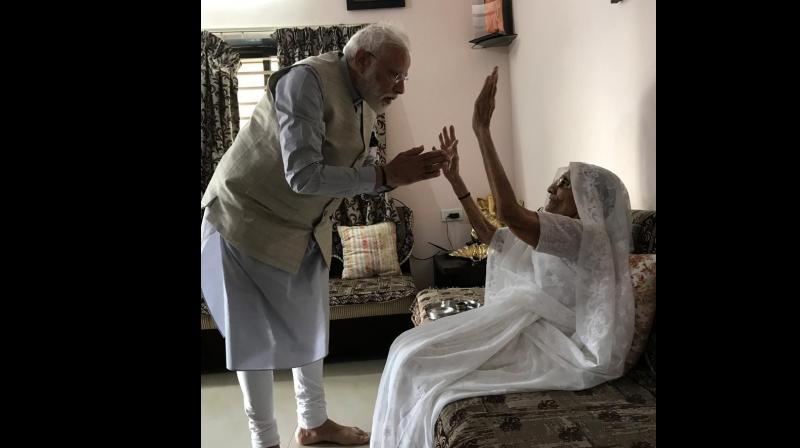 She was accompanied by her son Pankaj Modi and other family members. (Photo:ANI)