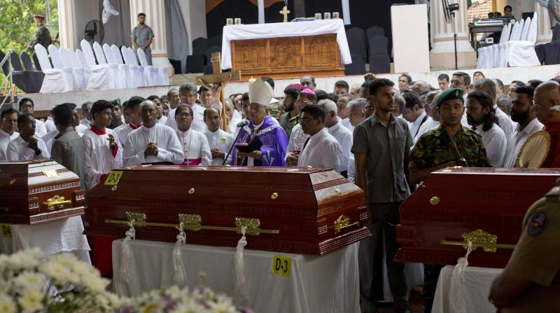 Cardinal Malcolm Ranjith speaks during a funeral service for Easter Sunday bomb blast victims at St. Sebastian Church in Negombo, Sri Lanka. (Photo:AP)