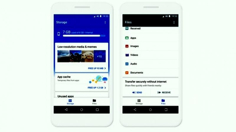 The app provides personalized suggestions about which files to delete, whether it's unused apps, large files, duplicate files or low-resolution videos and memes detected using Google's mobile vision technology.