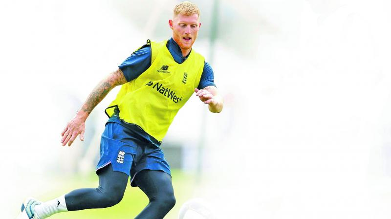 England allrounder Ben Stokes trains on the eve of the World Cup opener against South Africa. (Photo: AFP)