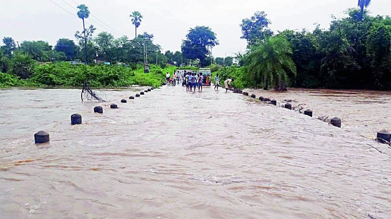 Rainwater overflows on Arpanapally bridge in Kesamudram on Sunday. 	(Image: DC)