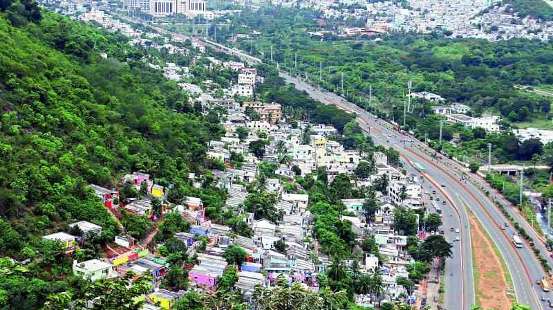 Constructions on the hillocks of Vizag city are gradually changing its skyline.