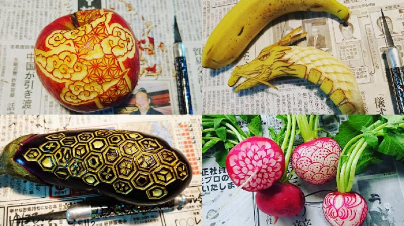 Japanese artist Gaku makes food look even better through his art which is inspired from a 16th century art Mukimono. (Photo: Instagram/Gaku)
