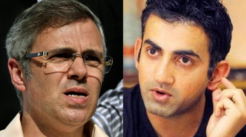 Indian cricketer Gautam Gambhir and Jammu and Kashmir Chief Minister Omar Abdullah were on Friday involved in a heated discussion on Twitter following the killing of terrorist Manan Wani. (Photo: PTI)