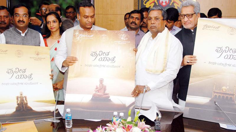 Chief Minister Siddaramaiah launched Puneeta Yathre, a package tour to religious places in the state, at Vidhana Soudha in Bengaluru on Wednesday