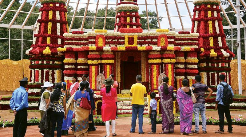 A model of the Channakeshava Temple at Somnathpura, displayed at the Mysuru Dasara flower show