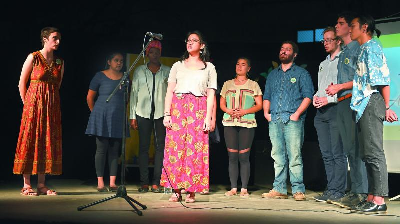 """World without stage fear!"" echoed the audience as the International Storytelling Festival began at the Apollo Foundation Theatre on Saturday evening."