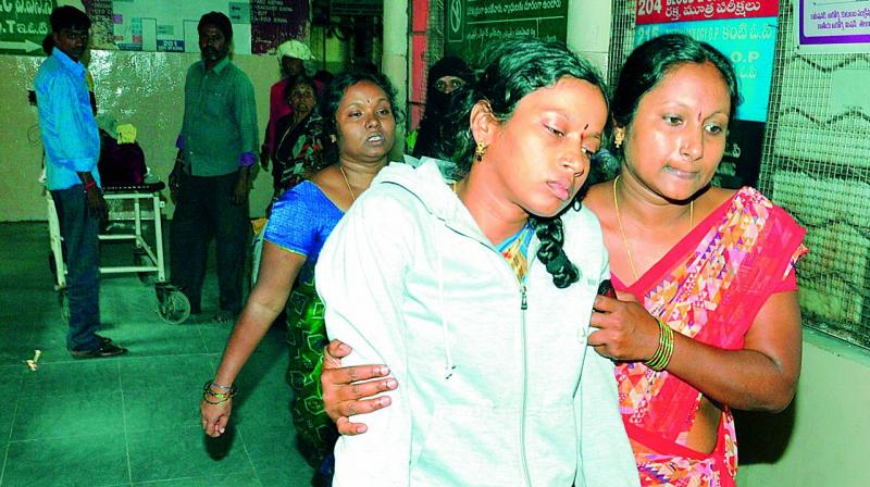 Latha, the wife of Suresh, accused in the attack of a tahsildhar, is crestfallen after the doctors informed her about the demise of her husband at the Osmania General Hospital on Thursday. (Photo: P. Surendra)