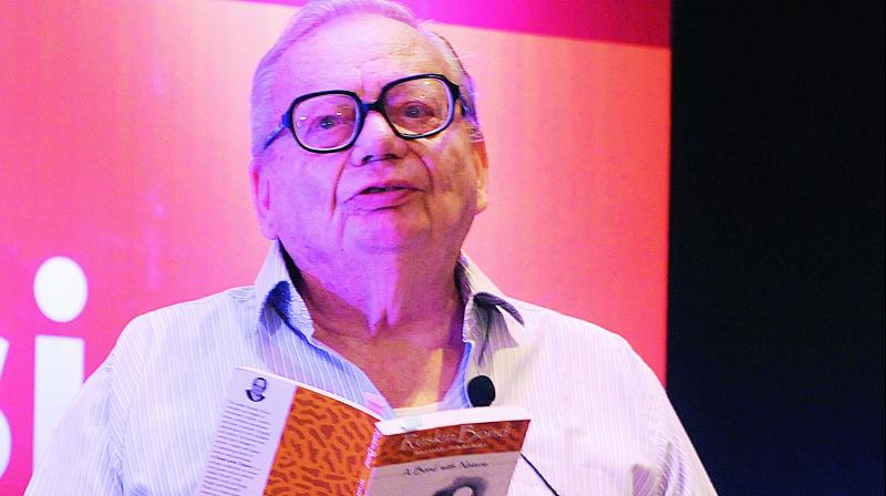 Ruskin Bond at an interaction with children in Hyderabad on Thursday.