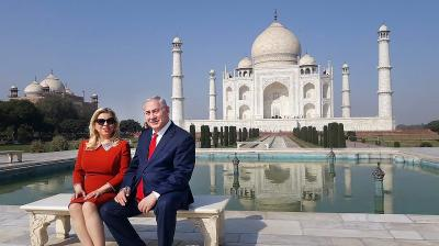Israeli Prime Minister Benjamin Netanyahu and his wife Sara Netanyahu visit the historic Taj Mahal in Agra on Tuesday. (Photo: PTI)