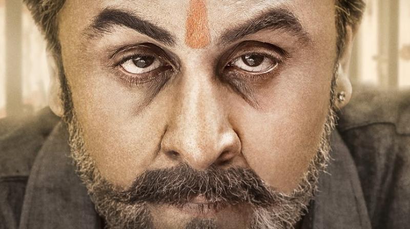 Ranbir Kapoor in and as Sanjay Dutt in 'Sanju' poster.