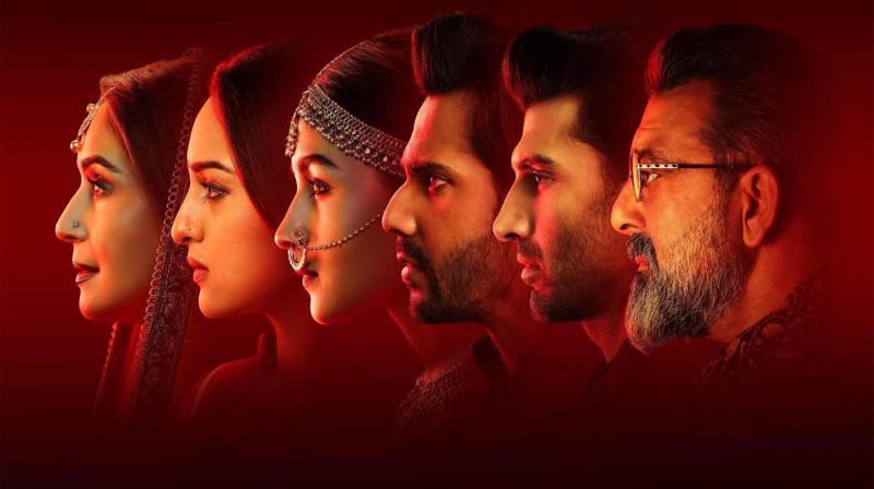 Kalank cast: Madhuri Dixit Nene, Sonakshi Sinha, Alia Bhatt, Varun Dhawan, Aditya Roy Kapur and Sanjay Dutt in the poster. (Photo: Twitter)
