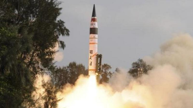 The 20 meter long Agni-II missile is a two stage solid propelled ballistic missile. (Photo: ANI)