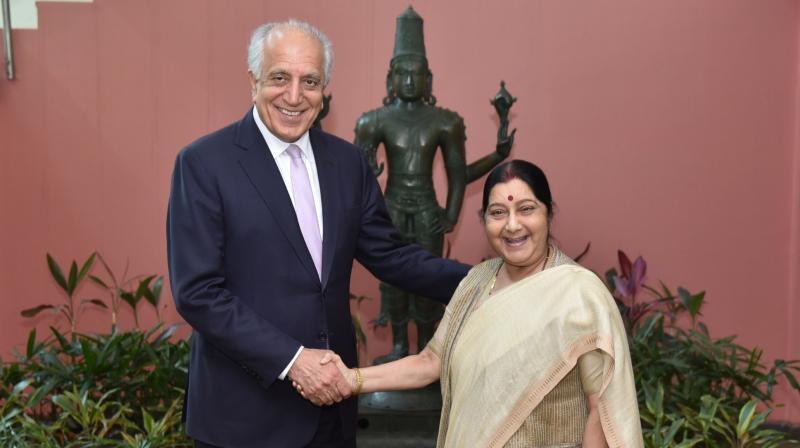 US envoy Zalmay Khalizad with EAM Susham Swaraj (Photo: Twitter)