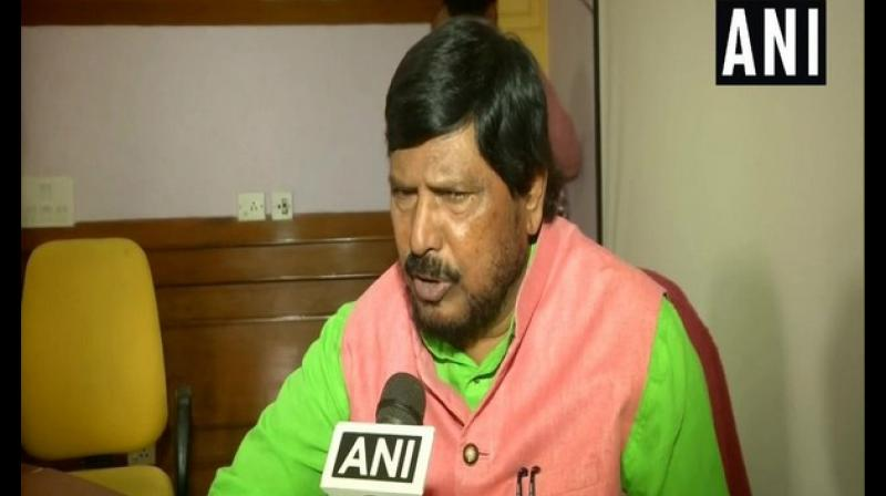 'Prime Minister Narendra Modi has said it several times that reservation (of Dalits and OBCs) will not be reduced. I don't think there is any need to review reservation. People who should get reservation will surely get a reservation,' Athawale said. (Photo: ANI)