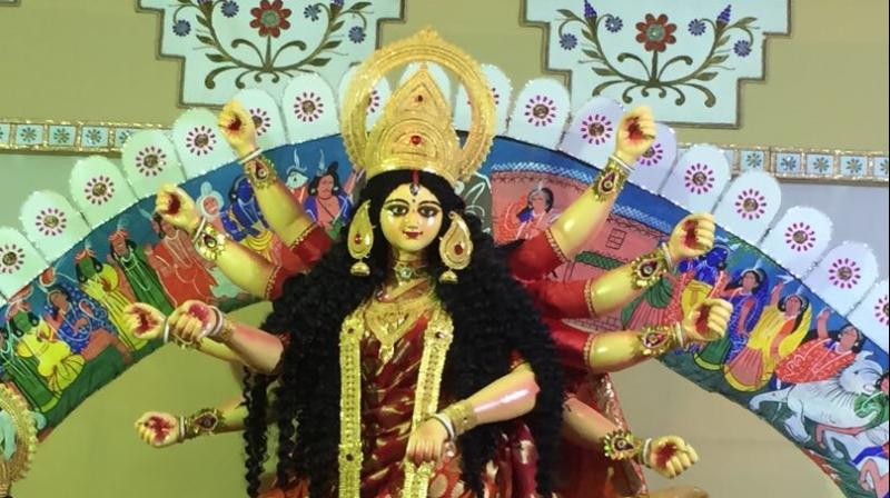 First look of Bombay Durga Puja Samiti, the goddess dressed in benarasi.