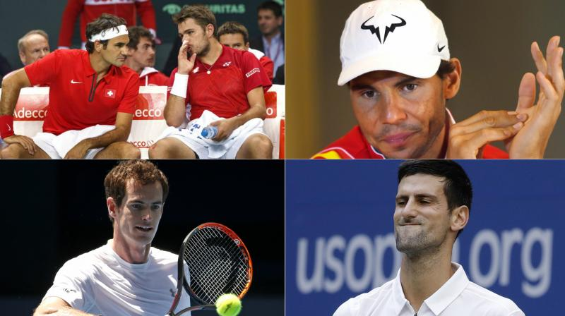 The 'big five' of tennis – Roger Federer and Stanislas Wawrinka (Switzerland), Rafael Nadal (Spain), Andy Murray (England) and Novak Djokovic (Serbia) are all missing from this week's first round of Davis Cup. (Photo: AP / PTI)