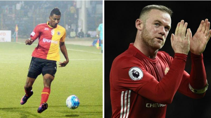 East Bengal striker Willis Plaza (L) and Wayne Rooney. (Photo: East Bengal FB/AFP)