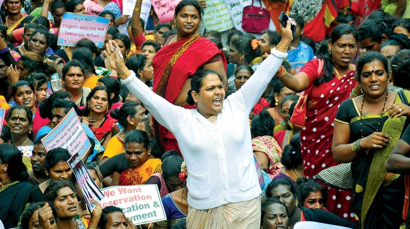 Members of the trans community protest outside the Chennai Press Club in Chepauk against the discriminatory nature of the Transgender Persons (Protection of Rights) Bill, 2016. (Photo: DC)