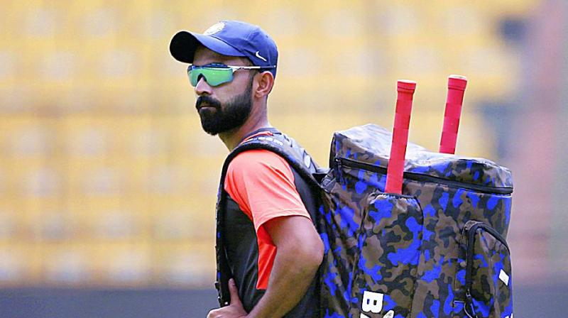 Ajinkya Rahane at training session in Bengaluru on Wednesday.  (Photo:AP)
