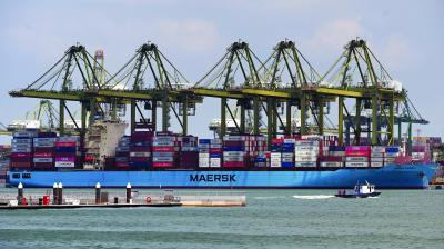 A container vessel docked at the West Coast container port in Singapore. (Photo: Roslan Rahman/AFP)