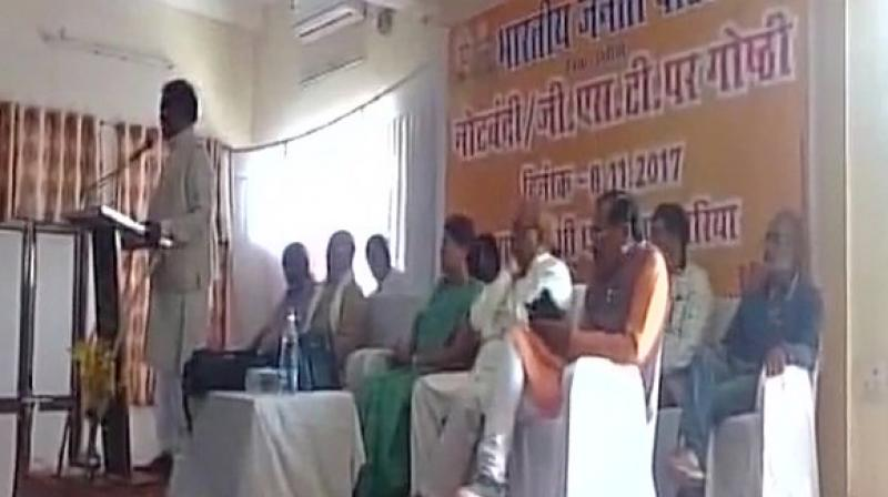 Om Prakash Dhurve, BJP minister from Madhya Pradesh, was addressing a gathering at an event on the first anniversary of demonetisation. (Photo: ANI)