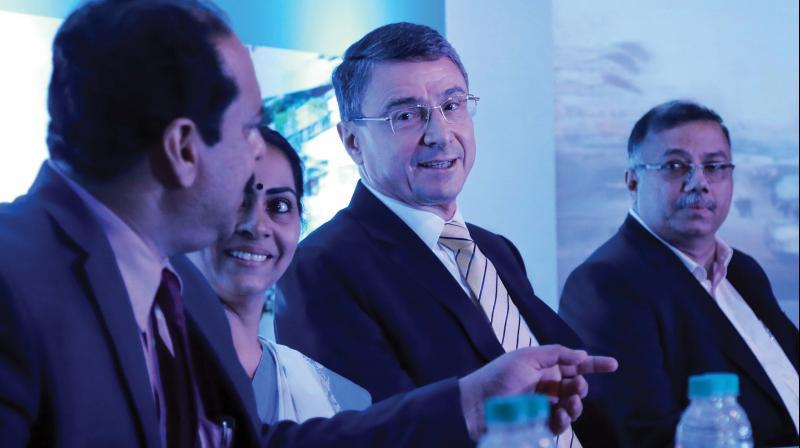 Cochin Smart Mission Ltd CEO A.P.M. Muhammad Haneesh, Mayor Soumini Jain, German Ambassador to India Dr Martin Ney and additional chief secretary (local self-government) T.K. Jose at the inauguration of Smart City Innovation Lab in Kochi on Monday.  (ARUN CHANDRABOSE)
