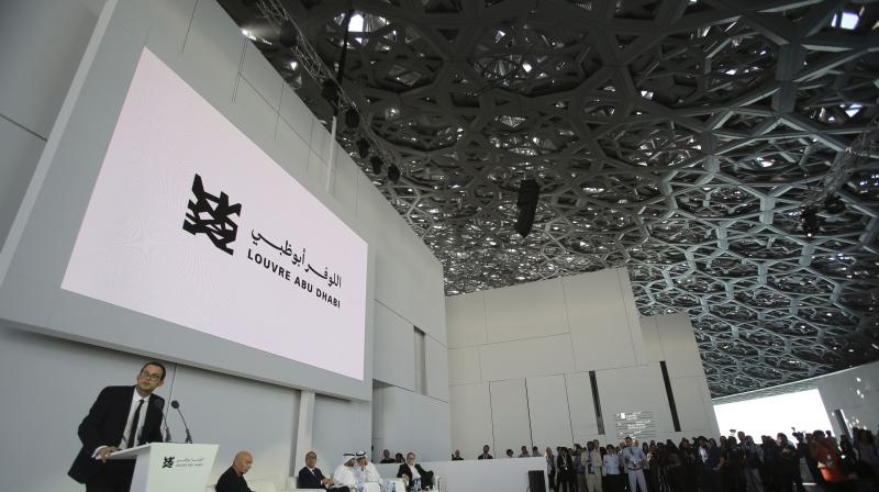 In this Monday, Nov. 6, 2017, photo, the president-director of the Louvre Museum Jean-Luc Martinez speaks to media under the dome of the Louvre Abu Dhabi, United Arab Emirates. (Photo: AP)
