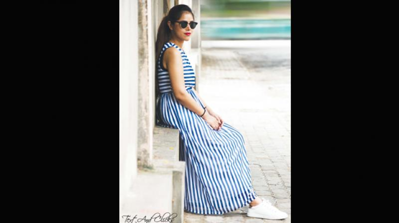 A picture of Aanchal, a Bengaluru-based blogger sporting nautical prints, used for representational purposes only.