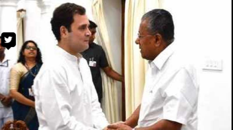 Gandhi, who is the Wayanad MP, met Vijayan at Kerala House and held discussions for about 20 minutes. (Photo: Twitter)