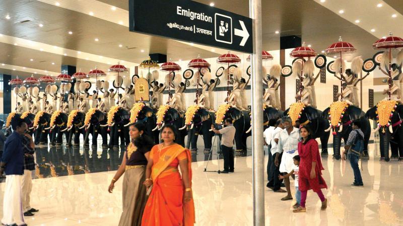 Visitors at the new international terminal at Cochin International Airport on Friday. (Photo: DC)