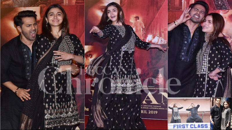 After a fabulous dance jugalbandi in 'Ghar More Pardesiya', Kalank makers have launched another dance number 'First Class' on Friday at Gaiety Galaxy, Bandra, Mumbai. Kalank actors Varun Dhawan and Alia Bhatt launched a peppy number and did a first class entertainment for their fans. (Pictures: Viral Bhayani)