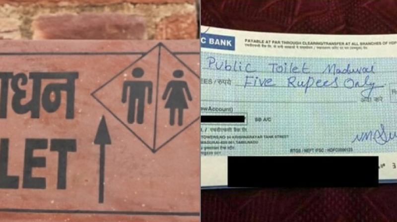The cheque had 'Public Toilet Madurai' written on it (Photo: Facebook)