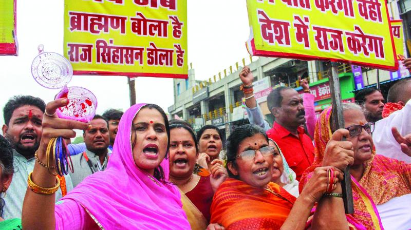 A file photo of upper caste protesters demanding reservation in government jobs and educational institutions during a protest in September 2018.