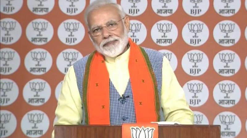 Amid Indo-Pakistan tension, PM said, 'The enemy tries to destabilize us, carries out terror attacks, they want to stop our growth. We all countrymen are standing like a rock to counter their evil designs.' (Photo: ANI | Twitter)