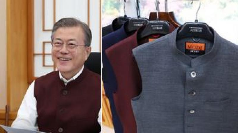 On October 31, South Korean President Moon Jae-in tweeted pictures of the sleeveless jackets, to be worn on a kurta. (Photo: Twitter | @TheBlueHouseENG)