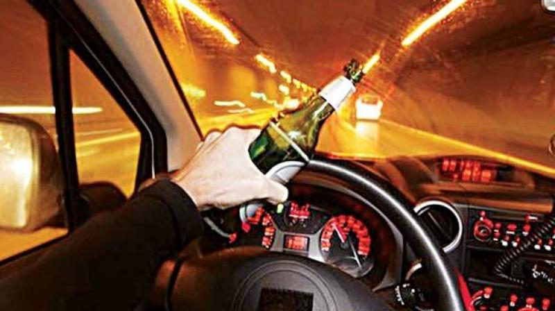 A drunk girl rammed her car into two vehicles at Banjara Hills on Monday night. One person suffered minor injuries in the mishap.