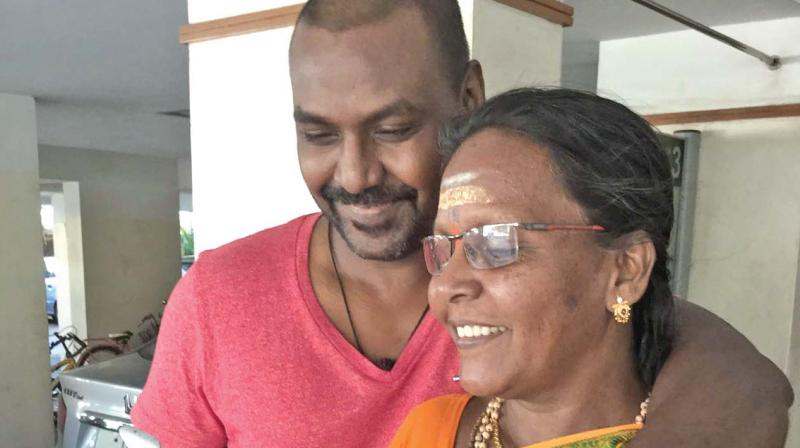 Raghava Lawrence with his mom
