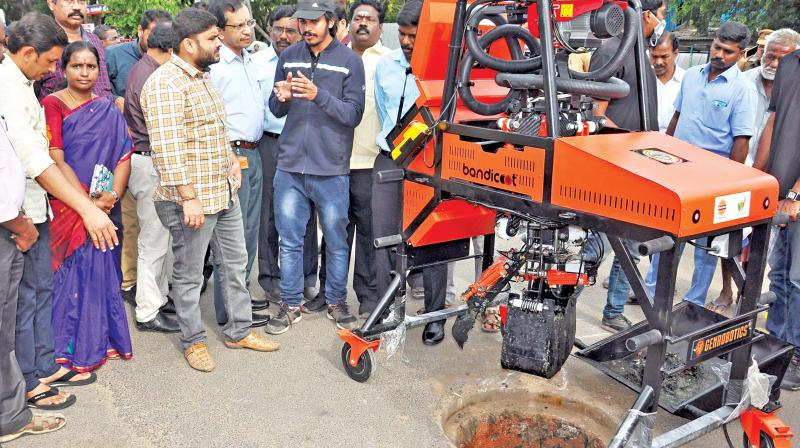 "The cost of the machine is Rs 17 lakh. But the company has given it for `9 lakh borne by the IOC, said Pradeep Kumar.The ""Bandicoot"" produced by Genrobotics, a startup promoted by a group of engineers from Kerala, is equipped with Wi-Fi, blue tooth, control panels. It has four limbs and a bucket system attached to spider web loop extension to scoop out waste from sewer."