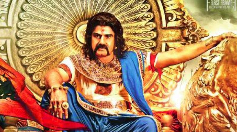 Actor Balakrishna in cover poster of hi upcoming release Gautamiputra Satakarni