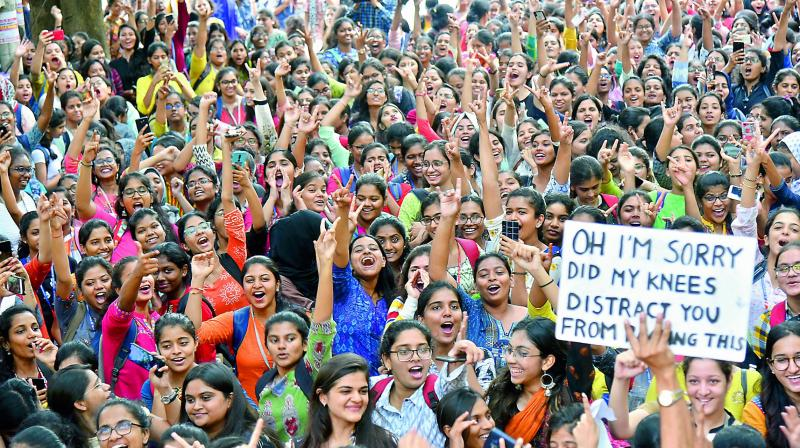 The students of St Francis College for Women holding a protest against the dress code diktat, which was later withdrawn