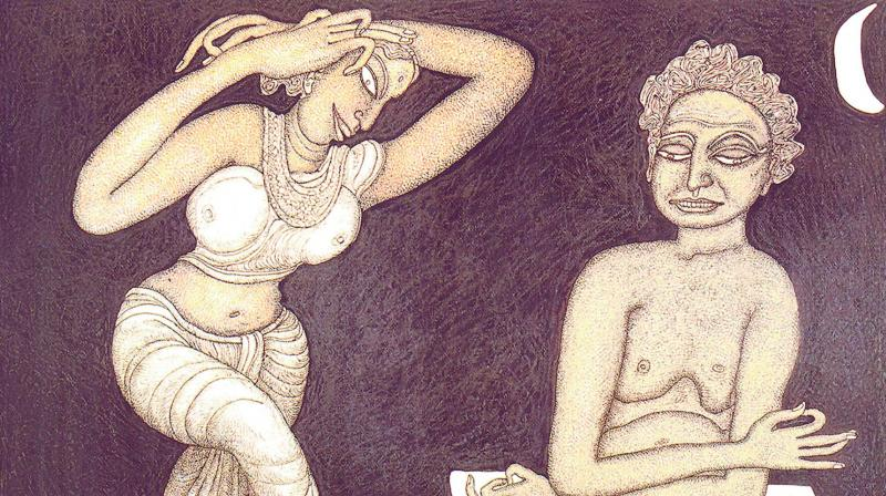 A serigraph work titled Yogi and the Dancer by Jogen Chowdhury