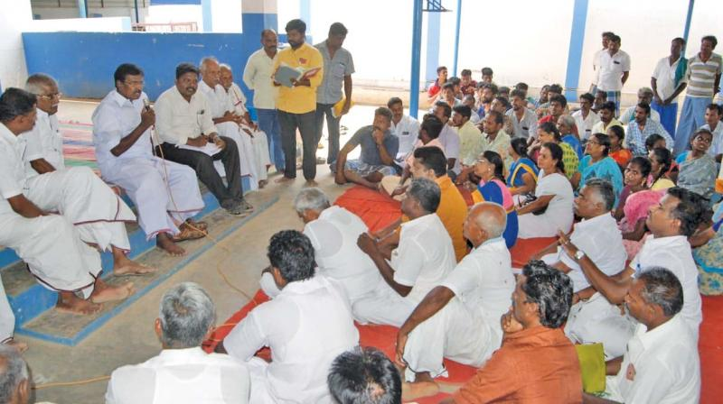 S.S. Palanimanickam, Thanjavur MP speaking at grama sabha meeting at Thirukkanurpatti, near Thanjavur on Friday. (DC)
