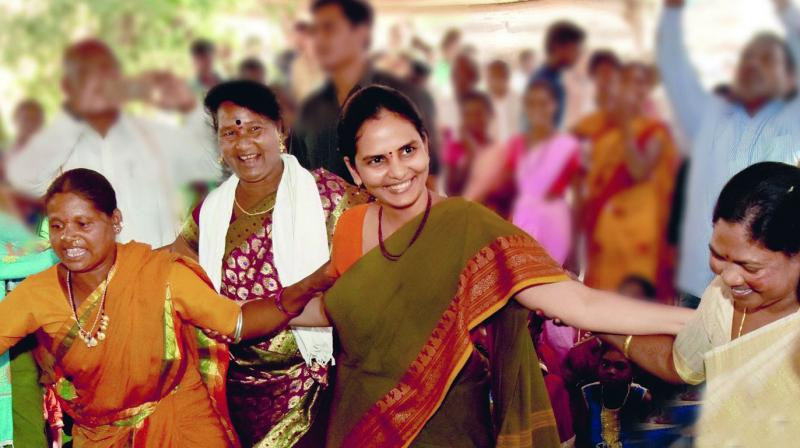 File photo of Divya Devarajan with Adivasi women.