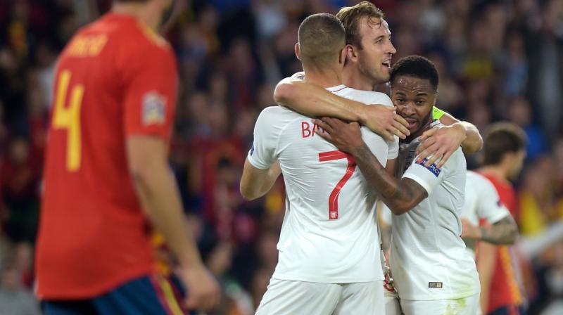 Sterling ended his three-year scoring drought with England with goals on each side of Rashford's strike before the break, leading England to its first win in Spain since 1987. (Photo: AFP)