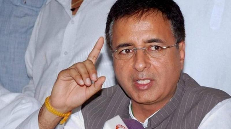Congress leader Randeep Surjewala said the grand old party will neither bow down nor it will be intimidated by BJP's 'political conspiracies' like I-T department raids. (File photo)