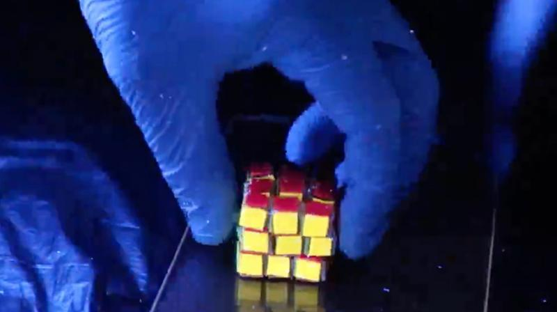 . The squishy Rubik's Cube can form 43 quintillion configurations, enabling a vast amount of data storage.