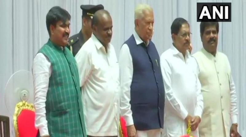 Karnataka Chief Minister H D Kumaraswamy on Friday expanded his Cabinet by inducting two JD(U) MLAs of his party. (Photo: ANI)