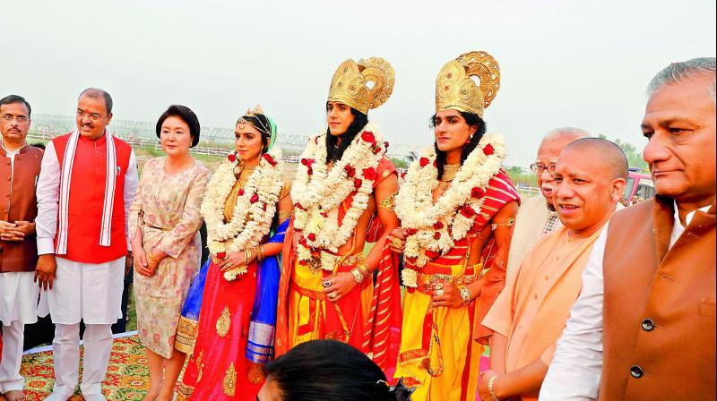 Yogi Adityanath's visit to Ram Janmabhoomi site came a day after the three-day Deepotsav ended, in which Korean First Lady Kim Jung-sook was the chief guest on the last day. (Photo: AP)